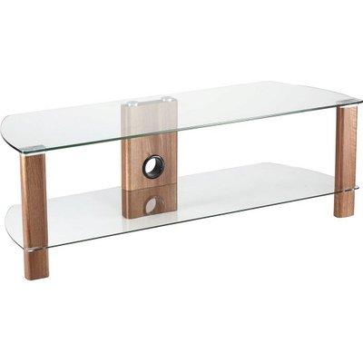 Sligo Glass LCD TV Stand In Clear And Walnut With Undershelf