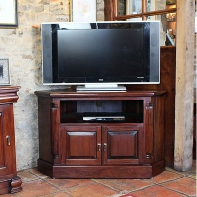 Belarus Corner LCD TV Stand In Mahogany With Cupboard And Shelf