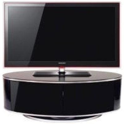 Powell LCD TV Stand In Black Glass Top With High Gloss Black