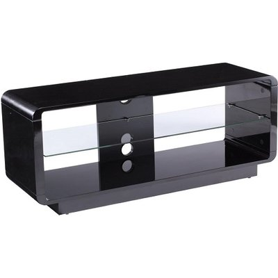 Lucia LCD TV Stand Medium In High Gloss Black With Glass Shelf
