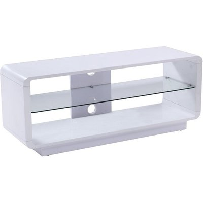 Lucia LCD TV Stand Medium In High Gloss White With Glass Shelf