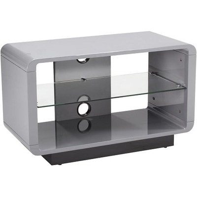 Lucia TV Stand Small In High Gloss Grey With Glass Shelf