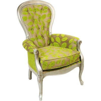Erela Three Arc Green Fabric Lounge Chair In Silver