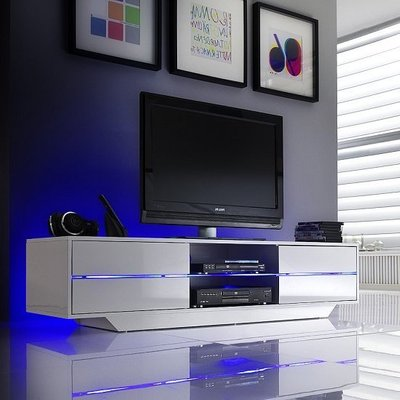 Sienna TV Stand In White High Gloss With Multi LED Lighting