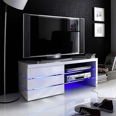 Sonia TV Stand In White High Gloss With Glass And LED