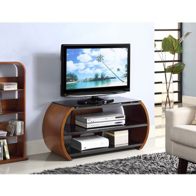 Curved LCD TV Stand In Black Glass Top And Walnut Veneer