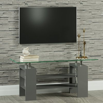 Willis Glass TV Stand In Clear With Grey High Gloss Legs