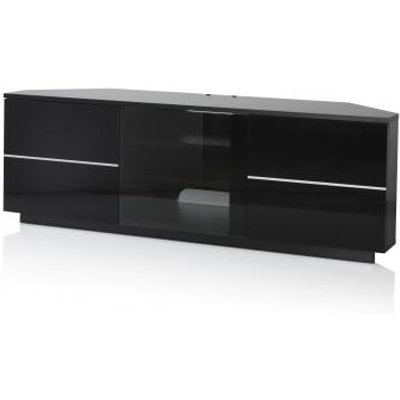 Adele Corner TV Stand In Black With Glass And Gloss Doors