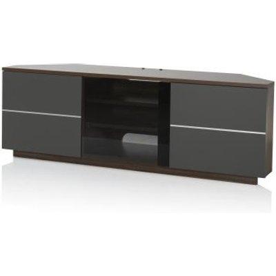 Adele Corner TV Stand In Walnut With Glass And Matt Grey Doors