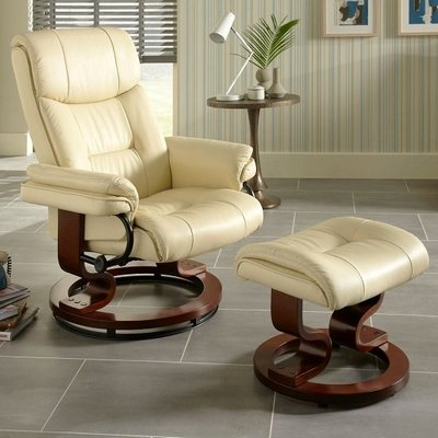 Alexandra Swivel Recliner Chair In Cream Faux Leather