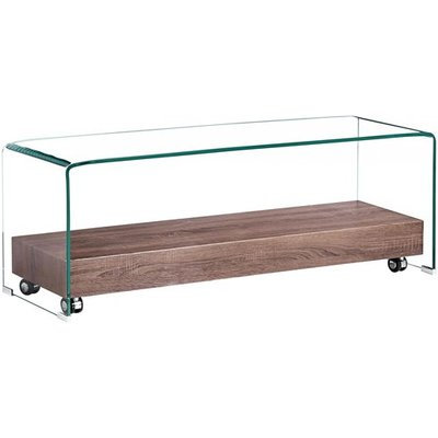 Angola Clear Glass TV Stand with Shelf