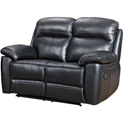 Astona Leather 2 Seater Recliner Sofa In Black