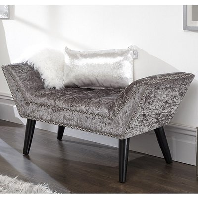 Belles Crushed Velvet Chaise In Grey With Nailhead Trim