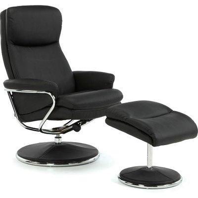 Berkeley Swivel Recliner Chair In Black Faux Leather