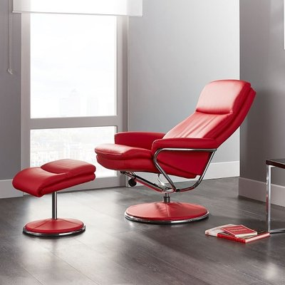Berkeley Swivel Recliner Chair In Red Faux Leather