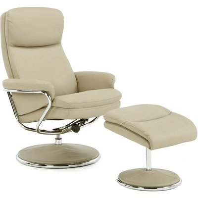 Berkeley Swivel Recliner Chair In Taupe Faux Leather