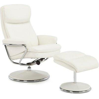 Berkeley Swivel Recliner Chair In White Faux Leather