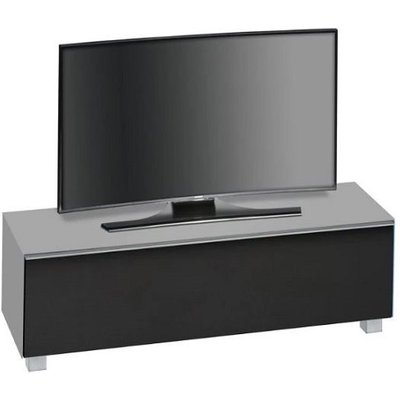 Beton TV Stand In Grey Matt Glass And Acoustic Black Fabric