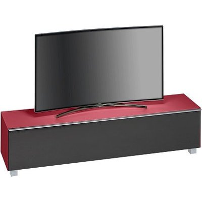 Beton Large TV Stand In Red Matt Glass Acoustic Black Fabric