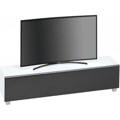 Beton Large TV Stand In White Matt Glass Acoustic Black Fabric