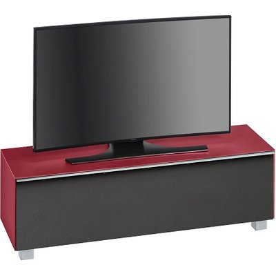Beton TV Stand In Red Matt Glass And Acoustic Black Fabric