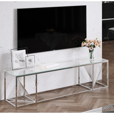 Bolzano Clear Glass TV Stand With Silver Stainless Steel Legs