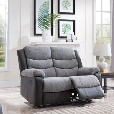 Brixton Recliner 2 Seater Sofa In Grey PU And Fabric