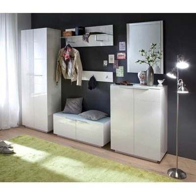 Canberra Hallway Furniture Set 1 In White High Gloss And Glass