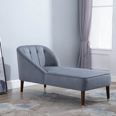Cassia Fabric Chaise Longue In Grey With Wooden Legs