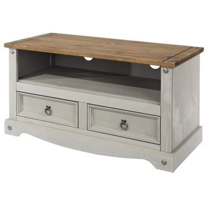 Corina TV Stand In Grey Washed Wax Finish With Two Drawers