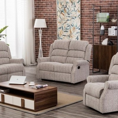 Curtis Fabric Recliner 2 Seater Sofa In Natural