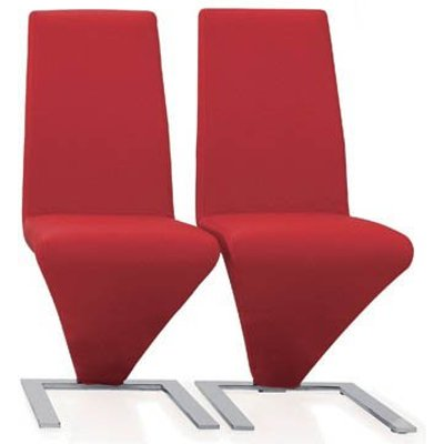 Demi Z Dining Chairs In Red Faux Leather in A Pair