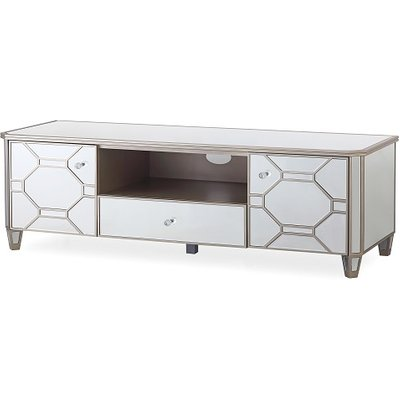 Dominga Mirrored TV Cabinet In Silver With Two Doors