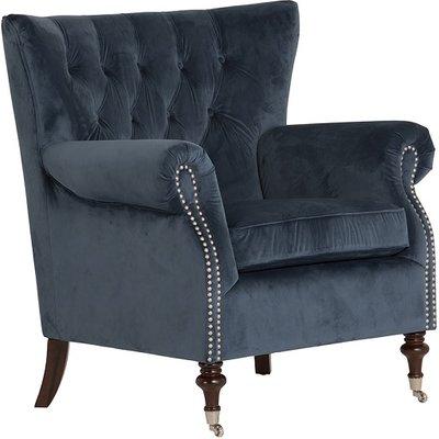 Elmore Modern Accent Chair In Blue Velvet Midnight