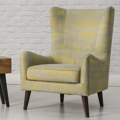 Erwan Fabric Sofa Chair In Yellow With Wooden Legs