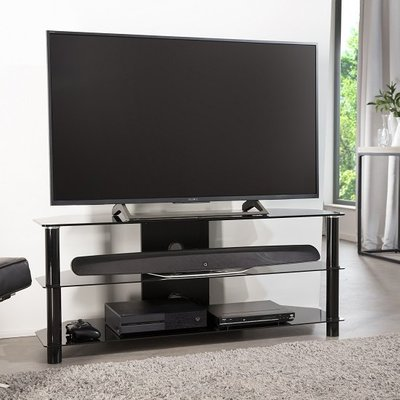 Essential Glass TV Stand Large In Black With Glass Shelves