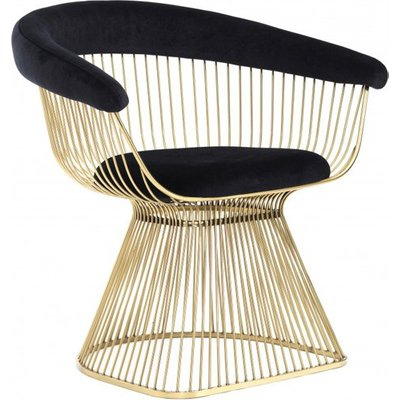 Fenda Velvet Armchair In Black With Gold Steel Legs