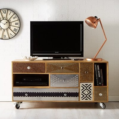 Flocons Wooden TV Cabinet In Reclaimed Wood With 7 Drawers