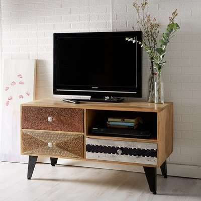Flocons Wooden TV Stand In Reclaimed Wood With 3 Drawers