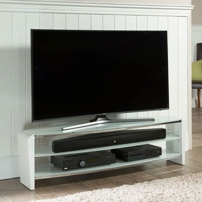 Francium Glass TV Stand In White With Shelves