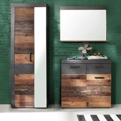 Saige Hallway Furniture Set 2 In Old Wood And Graphite Grey