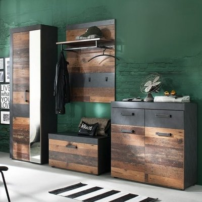 Saige Hallway Furniture Set 4 In Old Wood And Graphite Grey