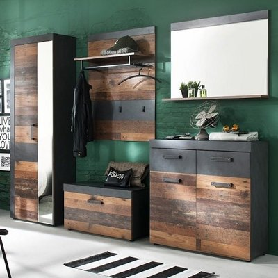 Saige Hallway Furniture Set In Old Wood And Graphite Grey