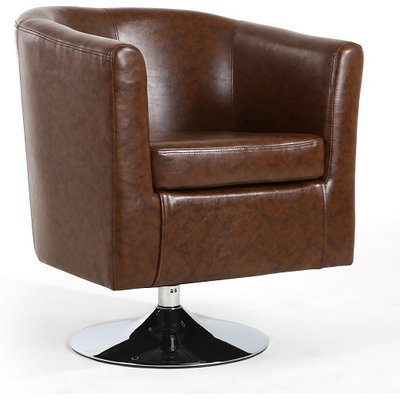 Howard Tub Chair In Antique Brown Leather Match With Swivel Base