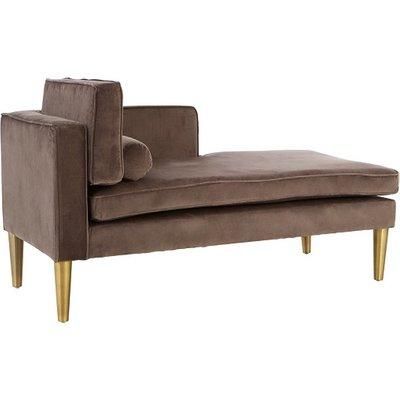 Jasmine Left Arm Lounge Chaise In Grey Velvet With Gold Legs