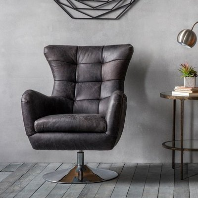 Jester Modern Swivel Lounge Chair In Antique Ebony Leather