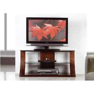 Curved Shape Plasma TV Stand In Walnut With Black Glass