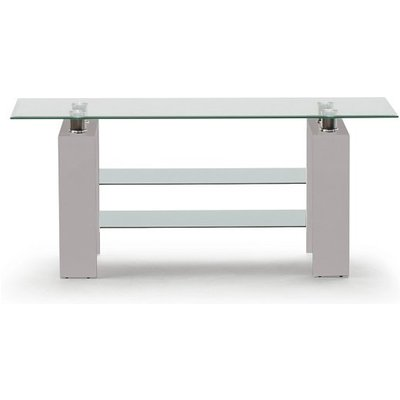 Lilia Tempered Glass TV Stand With Grey Finish Legs