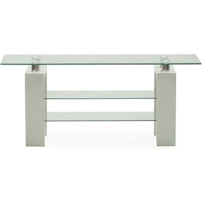 Lilia Tempered Glass TV Stand With White Finish Legs