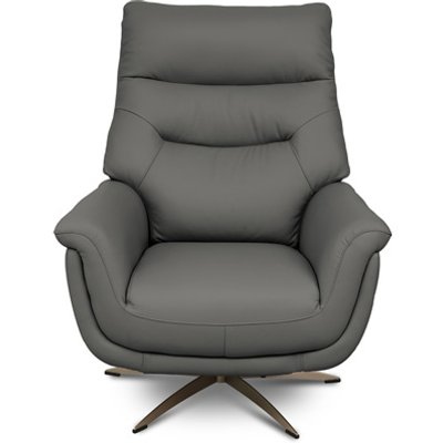 Linea Faux Leahter Swivel Armchair In Grey